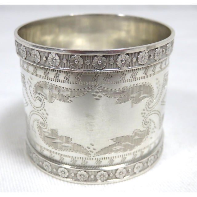 Traditional 1870s Antique Sterling Silver Napkin Rings - a Pair For Sale - Image 3 of 13