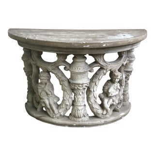 Neo Classical Poured Faux Cement Demilune Garden Table For Sale