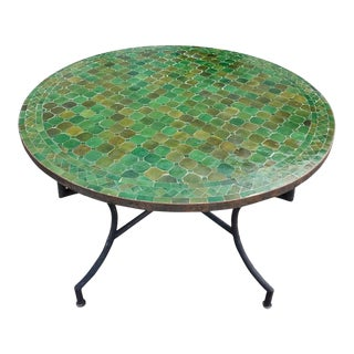 Moroccan RoundTamegroute Green Mosaic Table, For Sale