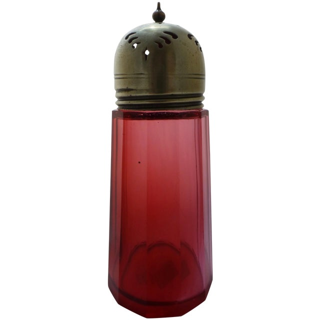 Antique Cranberry Glass Muffineer - Image 1 of 9