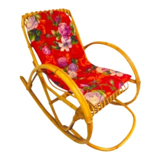 Vintage Bohemian Children's Wicker Rocking Chair For Sale