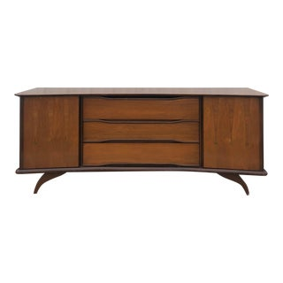 Mid Century Modern Lowboy Dresser With Brass Accents For Sale