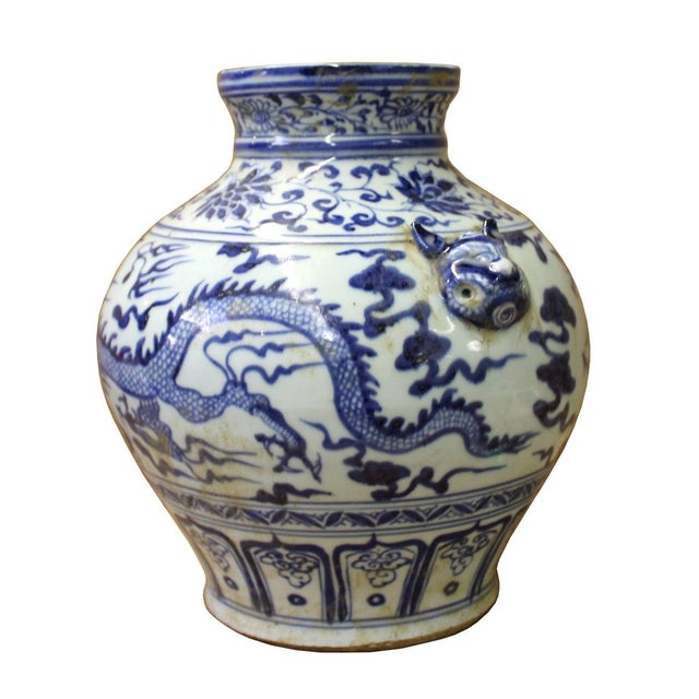 Asian Chinese Blue White Porcelain Dragon Scenery Small Foo Dog Accent Vase Jar For Sale - Image 3 of 6
