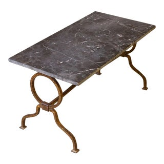 1940's Spanish Gilt Iron Table With Marble Top For Sale