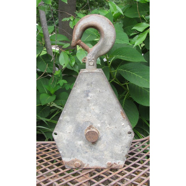 Metal French Industrial Pulley Accent Piece For Sale - Image 7 of 7