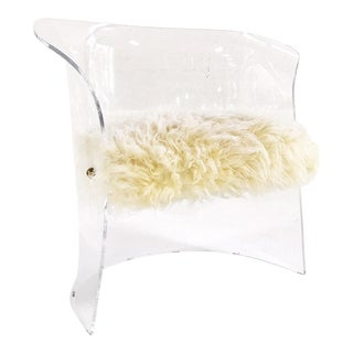 Modern Lucite Chair in Brazilian Sheepskin