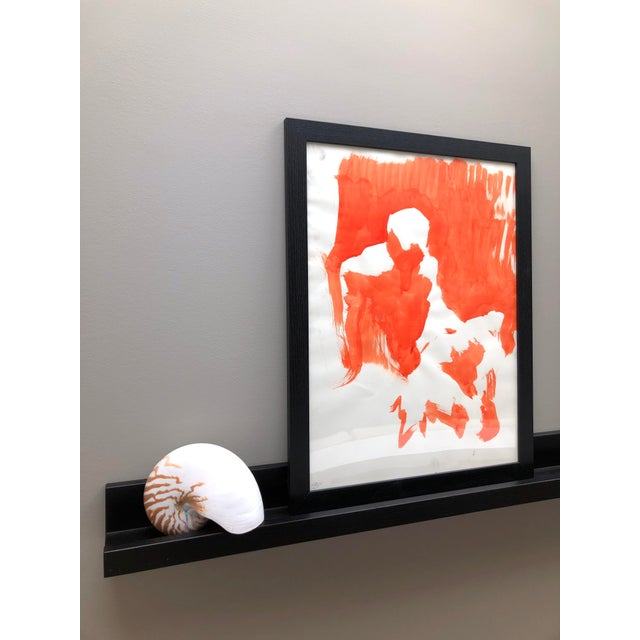 """Contemporary Contemporary Figure Painting in Orange Ink, """"Seated Figure in Orange"""" by Artist David O. Smith For Sale - Image 3 of 12"""