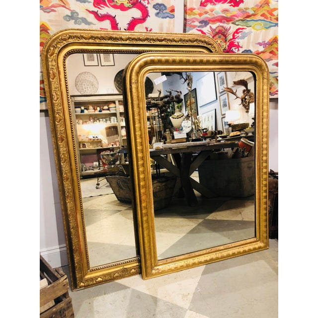 19th Century French Louis Philippe Carved Gilt Mirror With Original Glass For Sale - Image 11 of 12