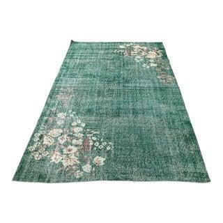 Green Floral Turkish Handwoven Green Wool Floor Rug