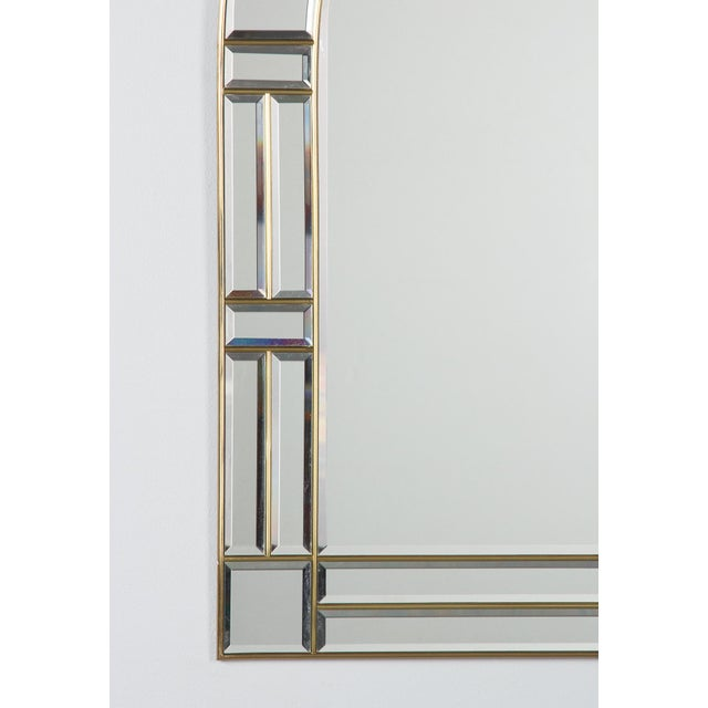 1970s 1970s Italian Beveled Glass Mirror With Brass Frame For Sale - Image 5 of 13