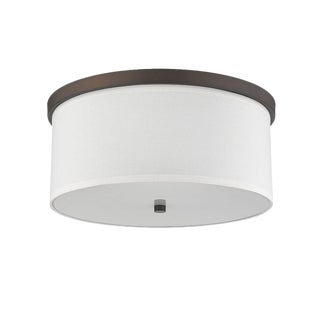 Lauren 3 Light Flush Mount Ceiling, Oiled Bronze For Sale