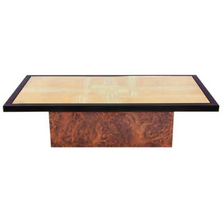 Maho Brass Etched Coffee Table on burl base For Sale