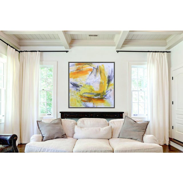 """Yellow """"Going West"""" by Trixie Pitts Large Abstract Expressionist Painting For Sale - Image 8 of 10"""