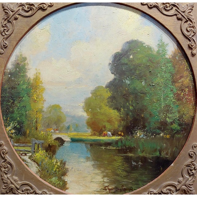 Impressionism George Thompson Pritchard -Bridge Over a Pond -Impressionist Oil Panting C1920s For Sale - Image 3 of 10