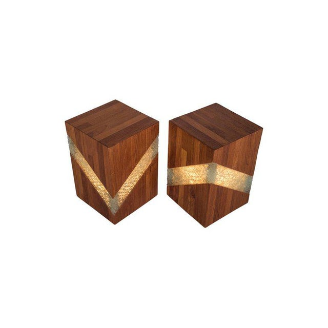 Midcentury Teak and Glass Table Lamps, Set of Two For Sale - Image 4 of 9