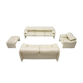 Cream White Living Room Set Maralunga by Vico Magistretti for Cassina 1973 For Sale