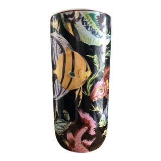 Hand-Painted Tropical Fish Motif Umbrella Stand