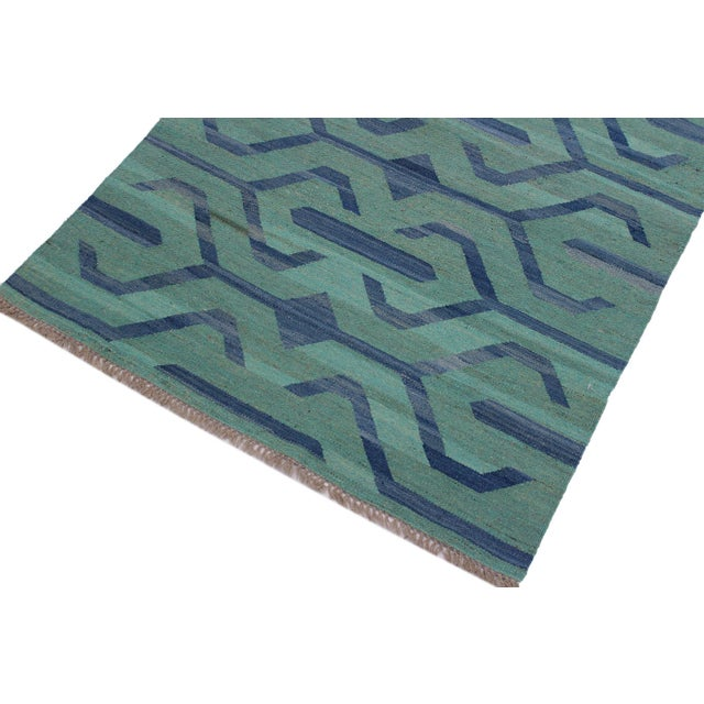 Primitive Tribal Kilim Angeliqu Green/Blue Hand-Woven Wool Rug - 3'2 X 4'11 For Sale - Image 3 of 8