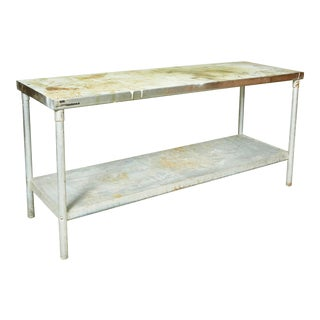 Industrial Metal Rectangular Commercial Table For Sale