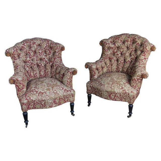 Pair of Tufted and Scrolled Back Armchairs For Sale - Image 11 of 11