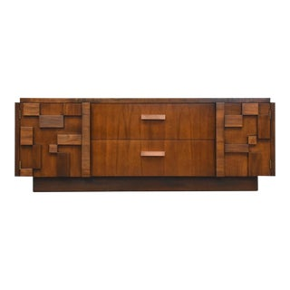 Brutalist Tv Console Credenza by Lane For Sale