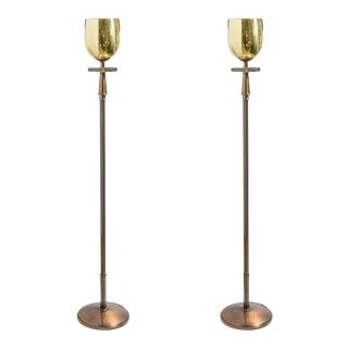 Gilt Brass & Bronze Torchere Floor Lamps Attributed to Tommi Parzinger, A-Pair For Sale