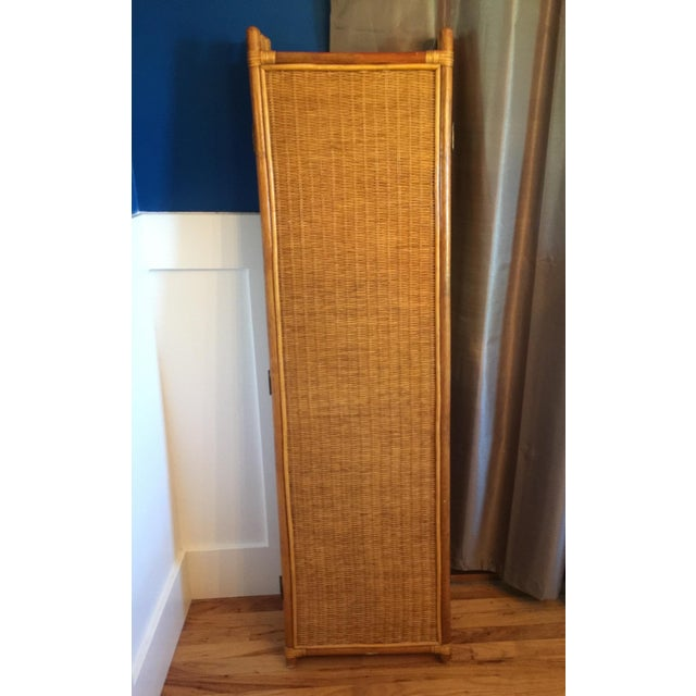 Brown Vintage Rattan Bamboo 3 Panel Folding Screen Room Divider For Sale - Image 8 of 10