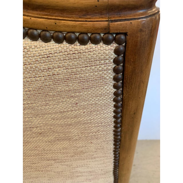 Handsome Louis XV Style Bergere With Neutral Taupe Rose Tarlow Upholstery For Sale - Image 9 of 12