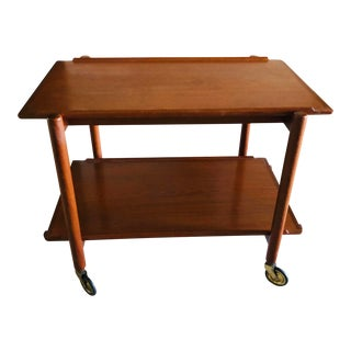 1950's Poul Hundevad Mid Century Modern Teak Bar Cart For Sale