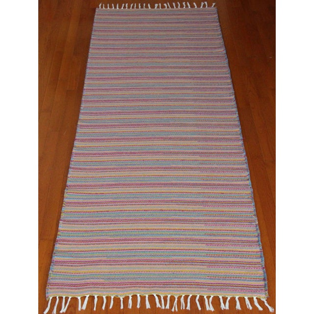 Flat Weave Wool Striped Pink Kilim Rug - 2'8'' x 7'6'' - Image 2 of 9
