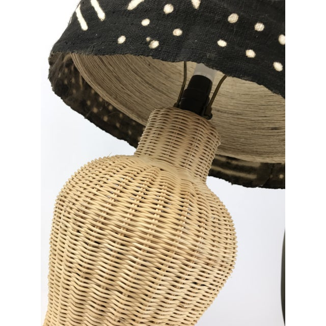 Wicker Ginger Jar Table Lamp With Mud Cloth Drum Shade For Sale In Los Angeles - Image 6 of 13