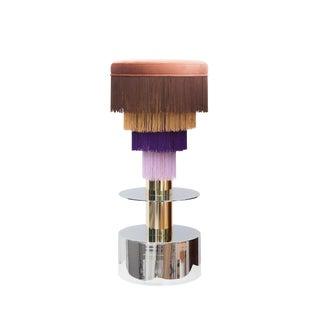 Deja Vu, Circular Stool in Velvet & Chrome by Houtique & Masquespacio For Sale