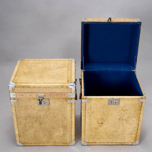 Pair of Reconditioned English Vellum and Chrome Trunks - Image 4 of 9
