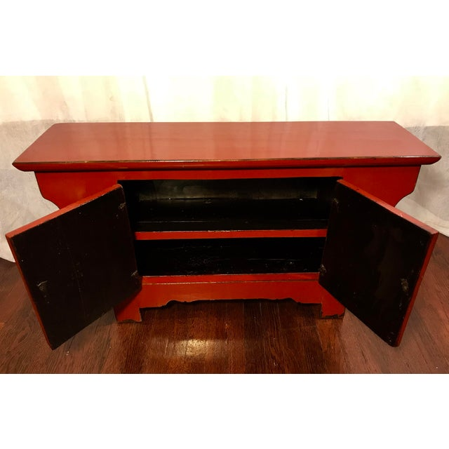 Asian 20th Century Chinese Cinnabar Colored Lacquered Sideboard Buffet For Sale - Image 3 of 11