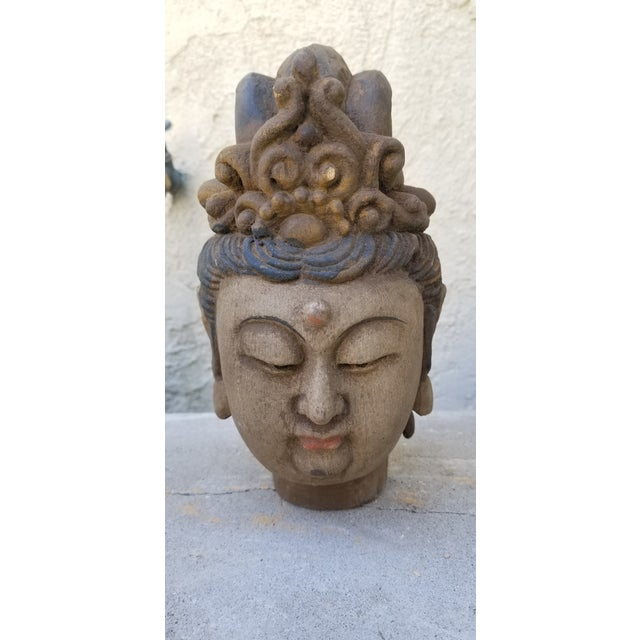 Hand Carved Quan Yin Bust For Sale - Image 4 of 4