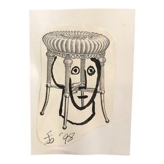 1998 Wicker Stool Crown Collage and Drawing by James Bone For Sale