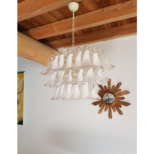 Mediterranean Mazzega Mid-Century Modern White Murano Glass Oval Chandelier -2 Available For Sale - Image 3 of 13