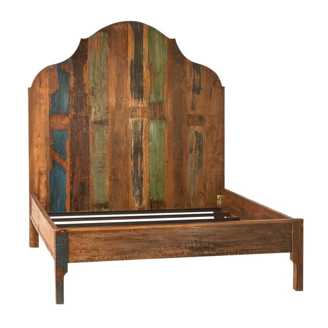 Distressed Painted Wood Bed Queen For Sale