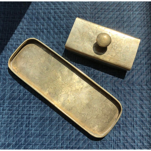 Vintage Late 20th Century Brass & Wood Ink Rocker / Blotter and Pen Tray - 2 Piece Set For Sale In New York - Image 6 of 6