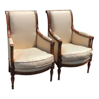 Pair of Antique Directoire Style Petit Bergere Arm Chairs For Sale