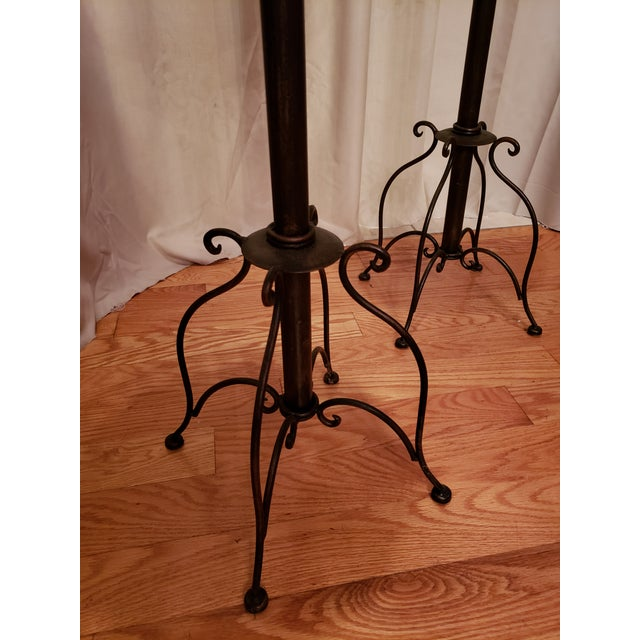 1980s Vintage Iron, Metal and Wicker Plant Stands - A Pair For Sale In Saint Louis - Image 6 of 7