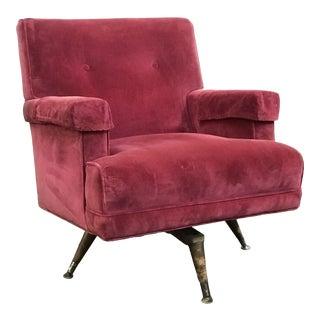 Magenta Velvet Tufted Swivel Club Chair For Sale