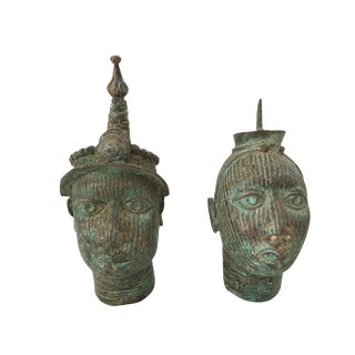 "Superb Benin Bronze Brass Heads Nigeria African 7.5"" H & 6"" H S/2 For Sale"