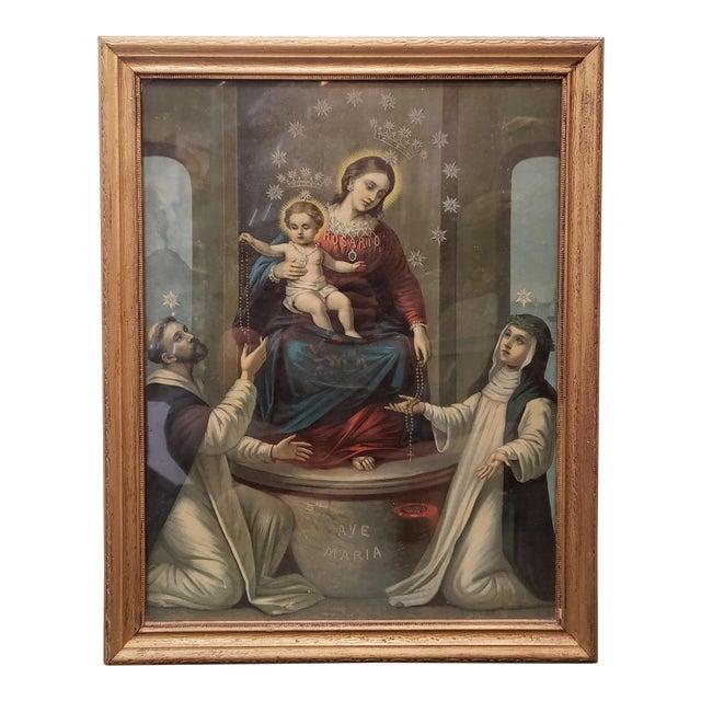 "Early 20th Century Italian ""La Madonna Del Rosario"" Framed Print For Sale"