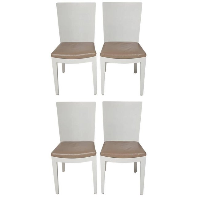 Karl Springer Signed Lizard Embossed Leather Jmf Chairs - Set of 4 For Sale - Image 11 of 11