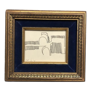 Original 1970's Robert Cooke Abstract Ink Drawing Vintage Frame For Sale