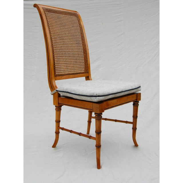 Faux Bamboo Caned Chairs, Pair For Sale - Image 4 of 6