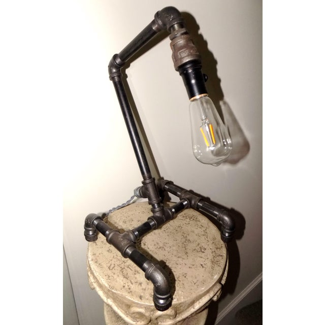 Hand-Crafted Industrial Table Light For Sale In Providence - Image 6 of 9