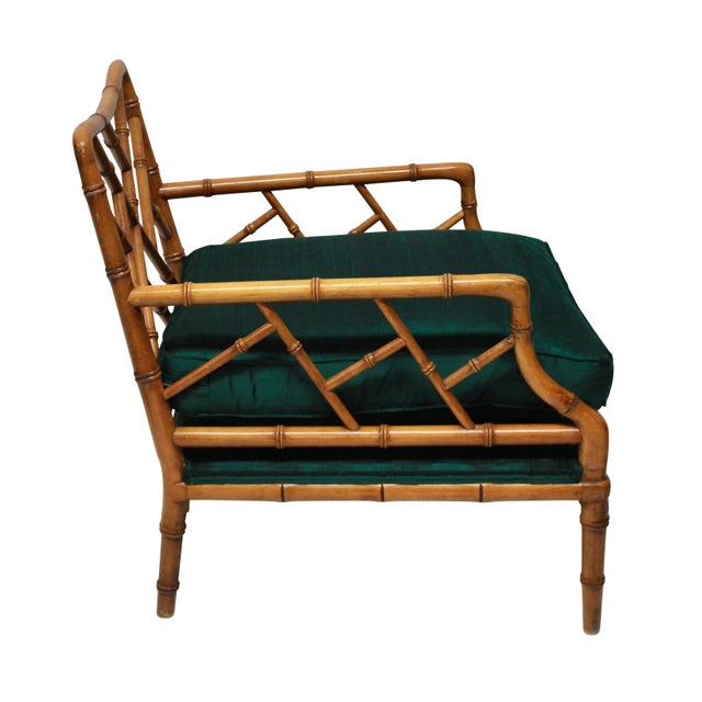 Mid-Century Modern A Pair of Faux Bamboo Cockpen Armchairs For Sale - Image 3 of 6