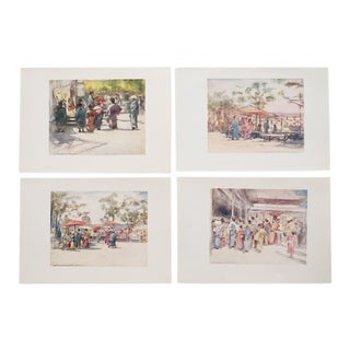1901 M.Menpes Lithographs of Japan Prints - Set of 4